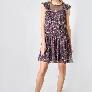 Tara Jarmon Forest Flower Ruffle Mini Dress L